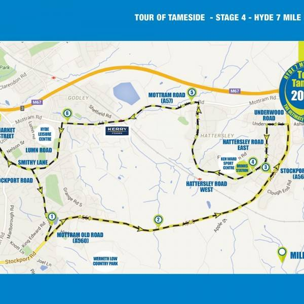 Tour of Tameside Hyde 7 route map