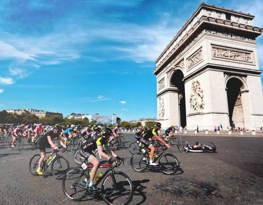 London to Paris cycle ride finish