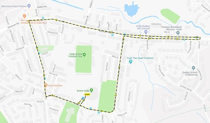 Active Hyde TOT Walk   ·         Sunday 17th June at Active Hyde (Leisure Pool) ·         Setting off at 10am ·         Walking down onto the main road and crossing over to walk down the tracks and up the side of the river – coming up the steps back onto the main road and up to the Leisure Pool. The walk can be extended to Market Street to join in with the celebrations or can be taken back to the pool, participants will be given the option on the walk. ··         Approx 30 mins